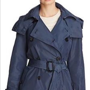 Burberry Amberford Hooded Trench in Airforce Blue